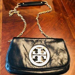 "Tory Burch Logo Leather Clutch. Black. 12"" By 7""."